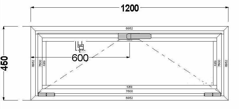 Алюминиевое окно (фрамуга) AGS 68
