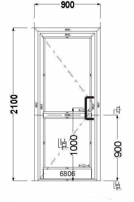Алюминиевая дверь AGS 68