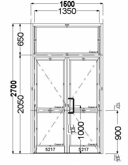 Алюминиевая дверь AGS 50